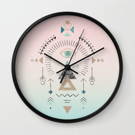 Magic Tribal Ornament Soft Pastels And Gold Wall Clock