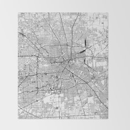 Houston White Map Throw Blanket