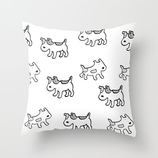 woofwoof dog meeting Throw Pillow