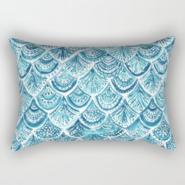 NAVY LIKE A MERMAID Fish Scales Watercolor Rectangular Pillow