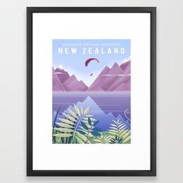 New Zealand Travel Poster Framed Art Print