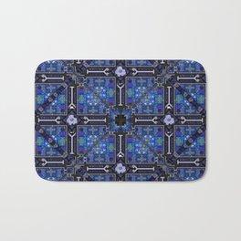 no. 144  blue flower pattern Bath Mat