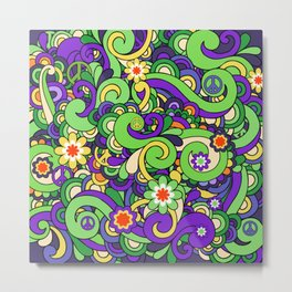Colorful Hippie Swirl Pattern 3 Metal Print
