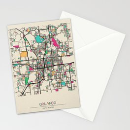 Colorful City Maps: Orlando, Florida Stationery Cards