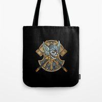 viking Tote Bags featuring Viking by Spooky Dooky