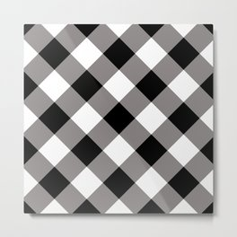 Gingham - Black Metal Print