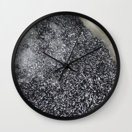 Black rice being cooked Wall Clock