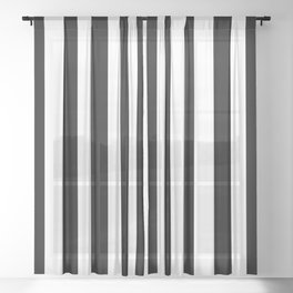 Solid Black and White Wide Vertical Cabana Tent Stripe Sheer Curtain