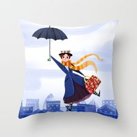 mary poppins Throw Pillows featuring Mary Poppins by giovanamedeiros