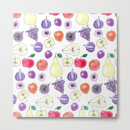 Watercolor pattern design with various fruits Metal Print