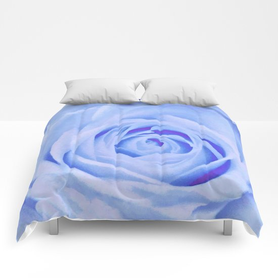 Blue Watercolor Rose Comforters
