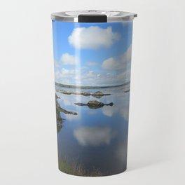 PUFFY CLOUD REFLECTIONS ON WATER AND ROCKS Travel Mug