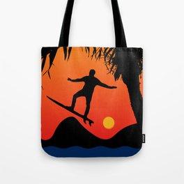 Man Surfing at Sunset Graphic Illustration Tote Bag