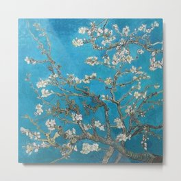 Vincent van Gogh Blossoming Almond Tree (Almond Blossoms) Medium Blue Metal Print