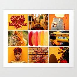 Bold Orange Yellow Moodboard Art Print