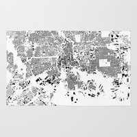 baltimore Area & Throw Rugs featuring Baltimore Map Schwarzplan Only Buildings by City Art Posters