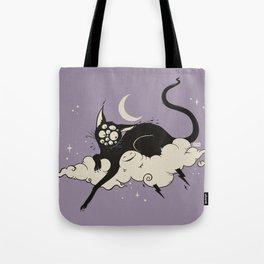 Strange Many Eyed Black Cat On Cloud With Lighting Bolt Tote Bag
