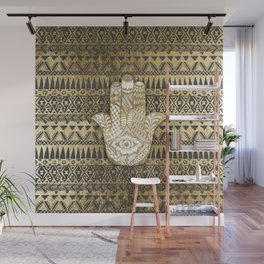 Faux Print Gold Hamsa Hand and Tribal Aztec Wall Mural