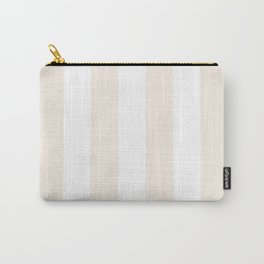 Vertical Stripes - White and Linen Carry-All Pouch