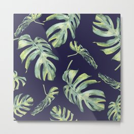 Monstera Pattern Blue #society6 Metal Print