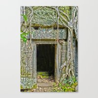 tomb raider Canvas Prints featuring Tomb Raider Doorway Cambodia by Brian Raggatt