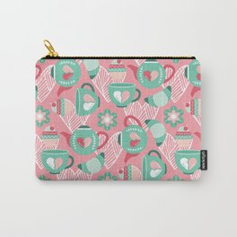 Abstract mauve pink green white sweet pattern Carry-All Pouch