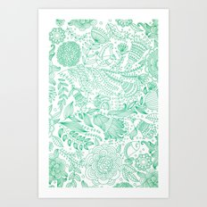 Doodle Flowers (White/Green Edition) Art Print