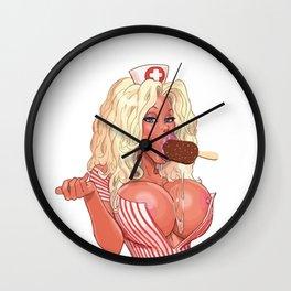 nurse pinup girl tits boobs ass butt nude funny pretty beautiful pretty cute sexy Wall Clock