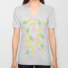 Tropical Pattern // Yellow Pink Green Palette Unisex V-Neck