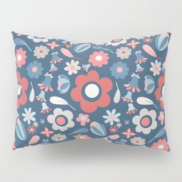 Large Flower Print Modern Farmhouse Pattern in Faded Navy Blue Red Gray Pillow Sham