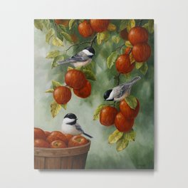 Chickadees and Apple Tree Harvest Metal Print