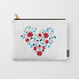 Hungarian Floral Folk Art Heart Pattern Carry-All Pouch