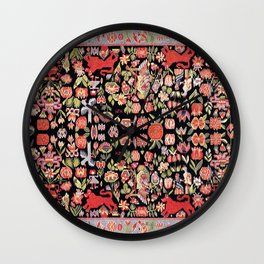 Täcke Antique Swedish Skåne Wedding Blanket Print Wall Clock