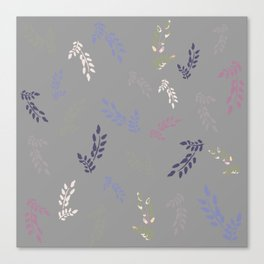 Colorful leaves on light grey background Canvas Print