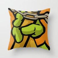 lichtenstein Throw Pillows featuring Lichtenstein Pop Martial Art Chelonians | Orange by Butcher Billy