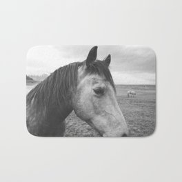 Horse Print in Black and White Bath Mat