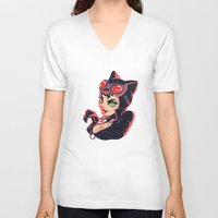 catwoman V-neck T-shirts featuring Catwoman by Piano Bandit