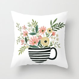 Tea Cup Floral by Lindsay Brackeen Throw Pillow