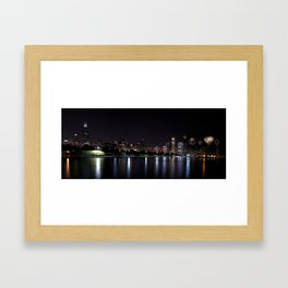 Chicago night skyline with fireworks, Usa. Framed Art Print