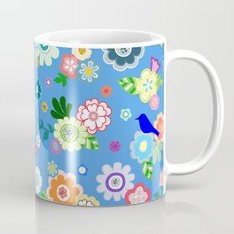 Whimsical Flowers & Birds in Bright Blue Coffee Mug