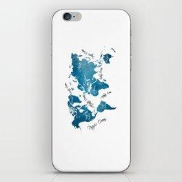 World Map blue iPhone Skin