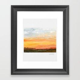 Orange Sunset - Watercolor Framed Art Print