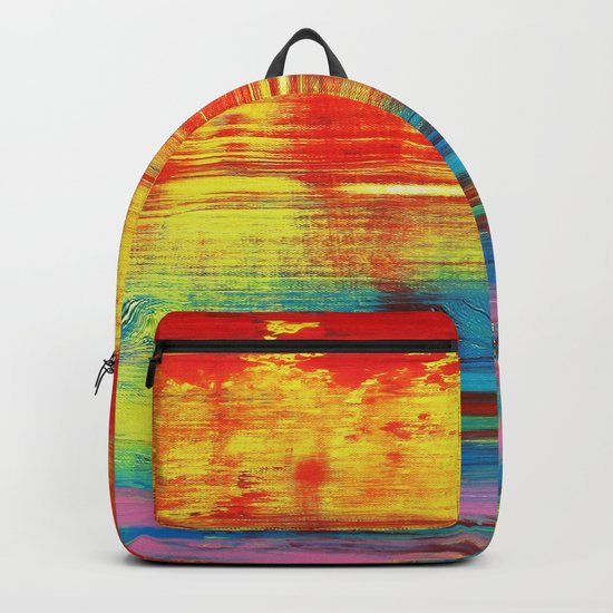 Sunny Sunset, Colorful Abstract Art Backpack