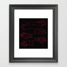 Classic Horror Hands (Red Line on Black) Framed Art Print