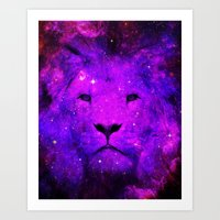 hipster lion Art Prints featuring Hipster Lion by Berberism