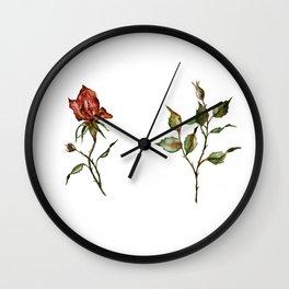 Loose Watercolor Rosebuds Wall Clock