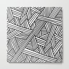 Abstract white & black Lines and Triangles Pattern-Mix and Match with Simplicity of Life Metal Print