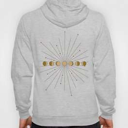Moon Phases in gold with a starburst and dusty rose background Hoody