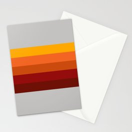 Light Gray & Orange Rainbow Stripes Stationery Cards