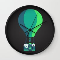 baloon Wall Clocks featuring Camera-baloon BLACK by GioDesign
